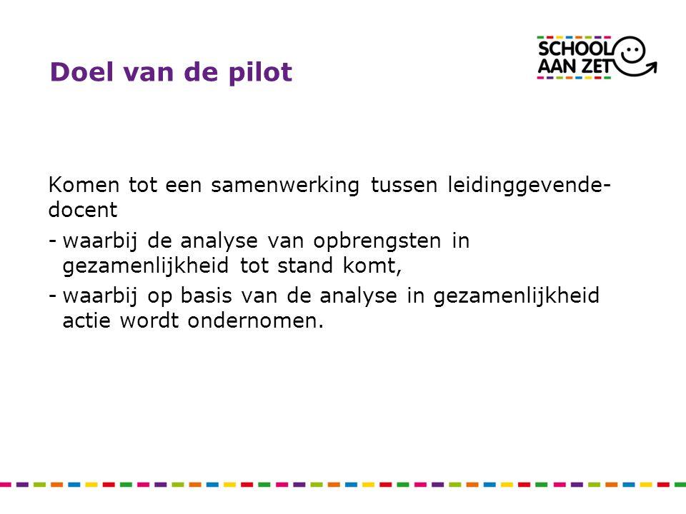 Doel van de pilot Komen tot een samenwerking tussen leidinggevende- docent -waarbij de analyse van opbrengsten in gezamenlijkheid tot stand komt, -waarbij op basis van de analyse in gezamenlijkheid actie wordt ondernomen.
