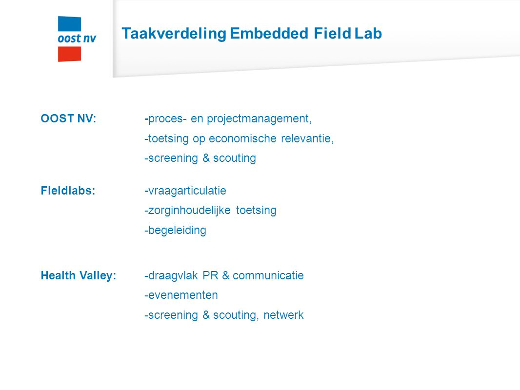 Taakverdeling Embedded Field Lab OOST NV: -proces- en projectmanagement, -toetsing op economische relevantie, -screening & scouting Fieldlabs: -vraaga
