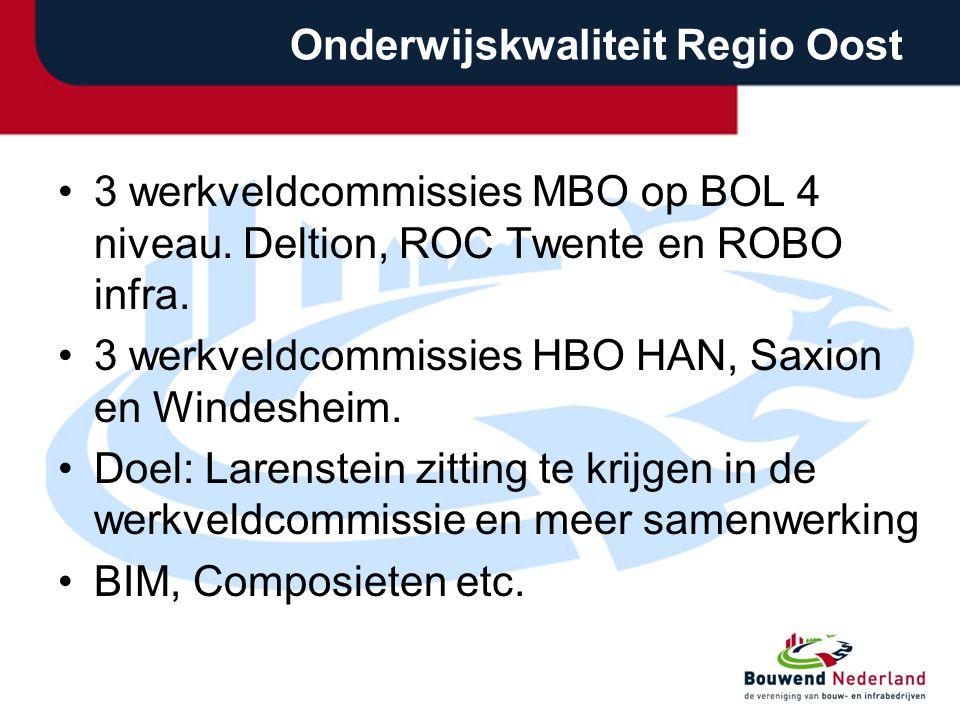 Onderwijskwaliteit Regio Oost 3 werkveldcommissies MBO op BOL 4 niveau.