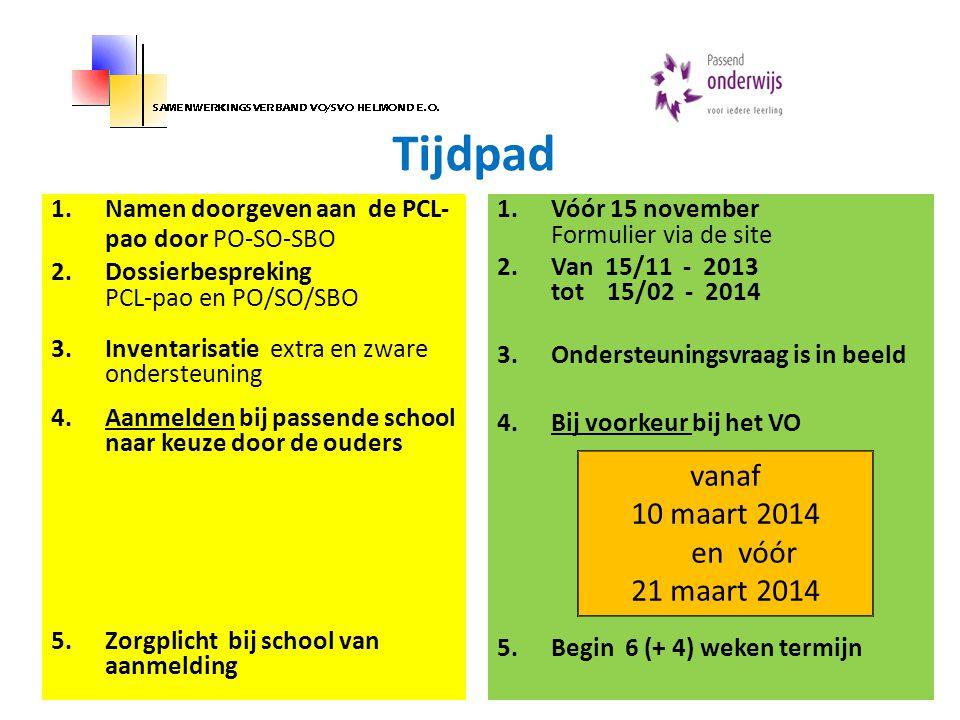 Tijdpad 1.Namen doorgeven aan de PCL- pao door PO-SO-SBO 2.Dossierbespreking PCL-pao en PO/SO/SBO 3.Inventarisatie extra en zware ondersteuning 4.Aanm