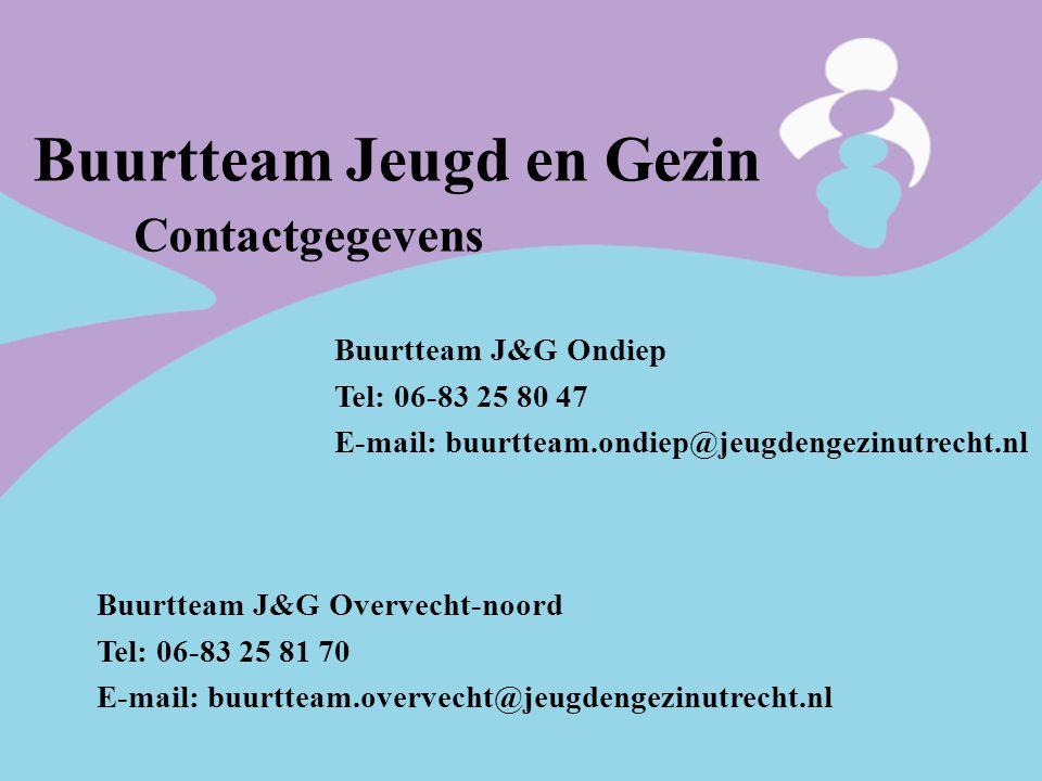 Buurtteam Jeugd en Gezin Contactgegevens Buurtteam J&G Ondiep Tel: 06-83 25 80 47 E-mail: buurtteam.ondiep@jeugdengezinutrecht.nl Buurtteam J&G Overve