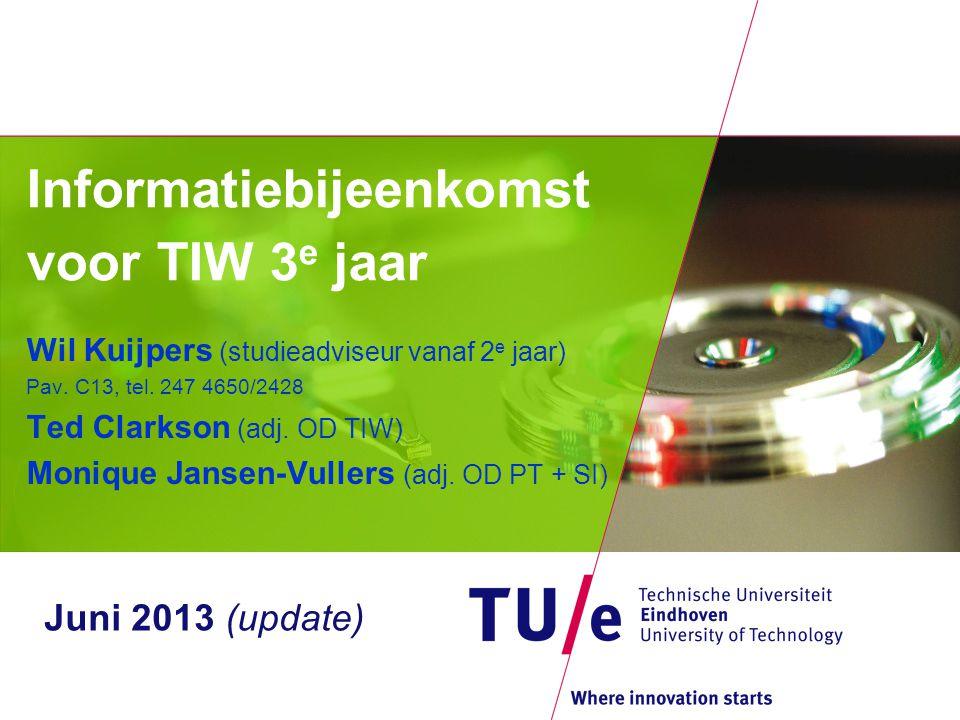 Informatiebijeenkomst voor TIW 3 e jaar Wil Kuijpers (studieadviseur vanaf 2 e jaar) Pav. C13, tel. 247 4650/2428 Ted Clarkson (adj. OD TIW) Monique J