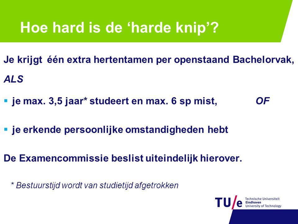 Hoe hard is de 'harde knip'? Je krijgt één extra hertentamen per openstaand Bachelorvak, ALS  je max. 3,5 jaar* studeert en max. 6 sp mist, OF  je e