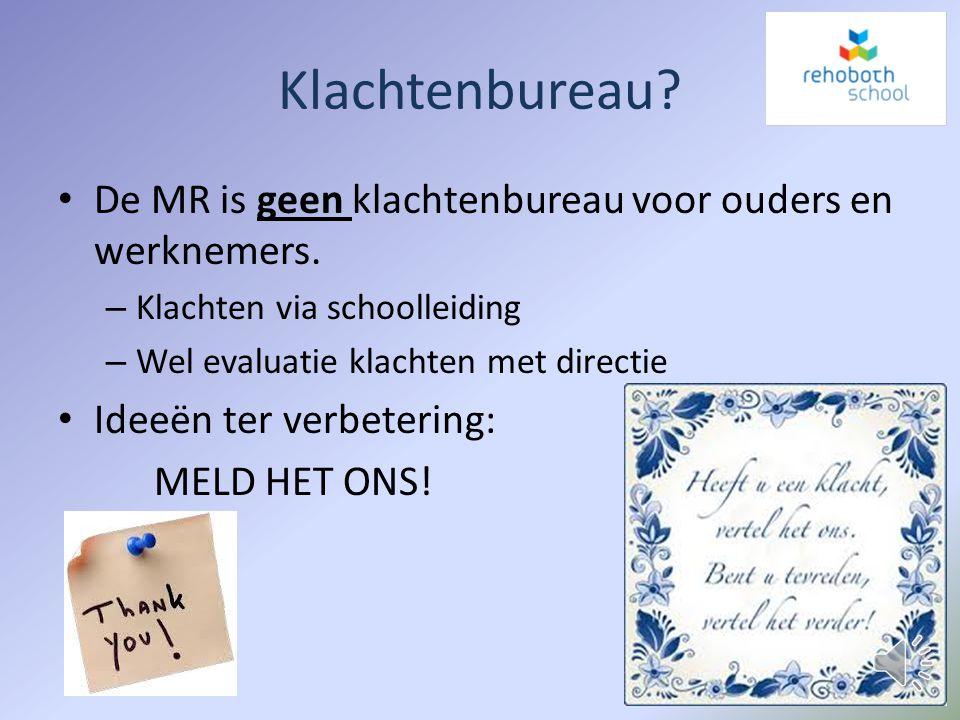Gemeenschappelijke Medezeggenschapsraad (GMR) 2 afgevaardigden van MR's: – Rehobothschool – Pr. Beatrixschool – Patrimoniumschool – Engelenburgschool
