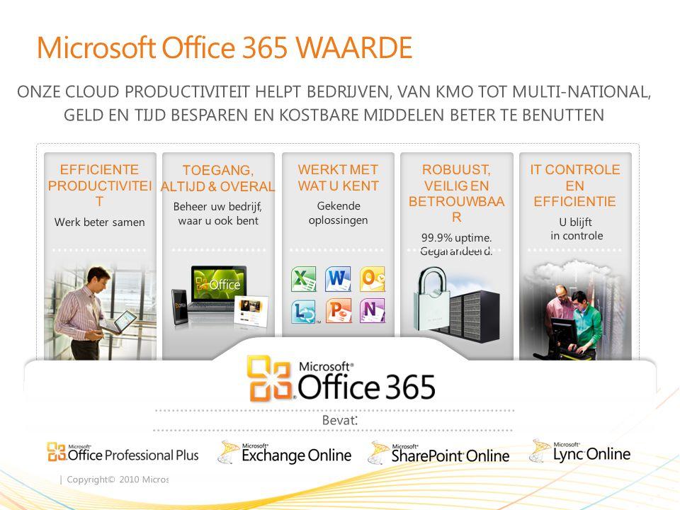 | Copyright© 2010 Microsoft Corporation Microsoft Office 365 WAARDE EFFICIENTE PRODUCTIVITEI T Werk beter samen TOEGANG, ALTIJD & OVERAL Beheer uw bedrijf, waar u ook bent WERKT MET WAT U KENT Gekende oplossingen ROBUUST, VEILIG EN BETROUWBAA R 99.9% uptime.