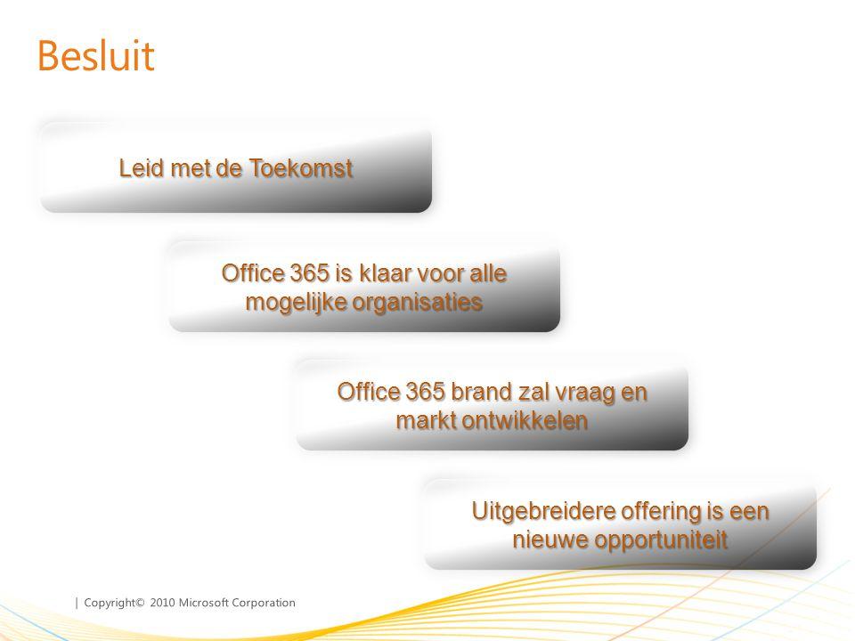 | Copyright© 2010 Microsoft Corporation Leid met de Toekomst Besluit Office 365 is klaar voor alle mogelijke organisaties Office 365 brand zal vraag en markt ontwikkelen Uitgebreidere offering is een nieuwe opportuniteit
