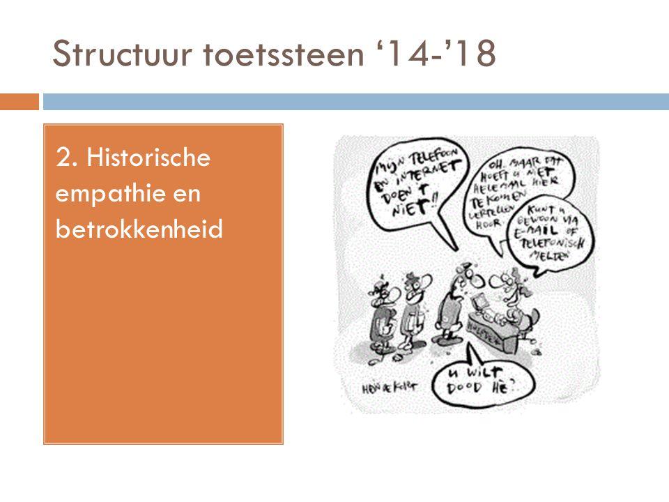 Structuur toetssteen '14-'18 2. Historische empathie en betrokkenheid