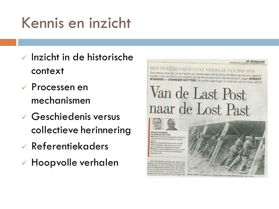 Kennis en inzicht Inzicht in de historische context Processen en mechanismen Geschiedenis versus collectieve herinnering Referentiekaders Hoopvolle ve