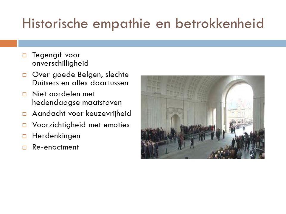 Historische empathie en betrokkenheid  Tegengif voor onverschilligheid  Over goede Belgen, slechte Duitsers en alles daartussen  Niet oordelen met