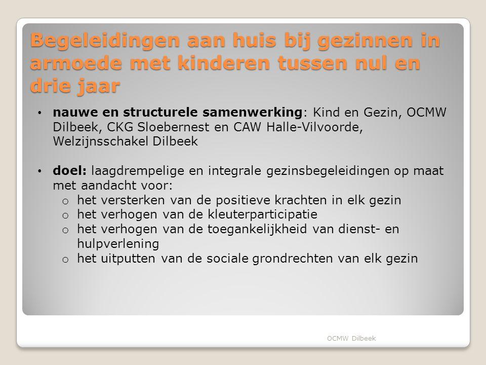 Enkele andere concrete acties en toekomstplannen Vonk-projecten onderbrengen in het nog op te richten Huis van het Kind in de welzijnscampus (bouw 2015) Uitbouwen van een overlegstructuur (2014-2015) voor kinderarmoedebestrijding gericht om de komen tot een charter 'Kinderarmoede, neen!' gericht op schoolgaande kinderen(projectmiddelen via POD MI) Projecten voor taalarme kinderen: naschoolse begeleiding, Boekenbende aan Huis, taalrugzakjes,… OCMW Dilbeek