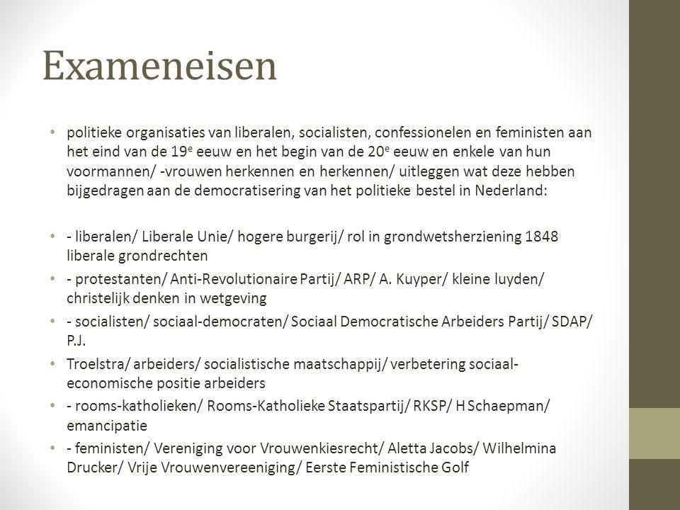 Exameneisen politieke organisaties van liberalen, socialisten, confessionelen en feministen aan het eind van de 19 e eeuw en het begin van de 20 e eeu