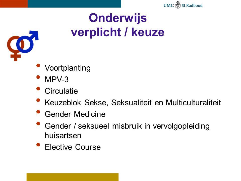 Onderwijs verplicht / keuze Voortplanting MPV-3 Circulatie Keuzeblok Sekse, Seksualiteit en Multiculturaliteit Gender Medicine Gender / seksueel misbruik in vervolgopleiding huisartsen Elective Course