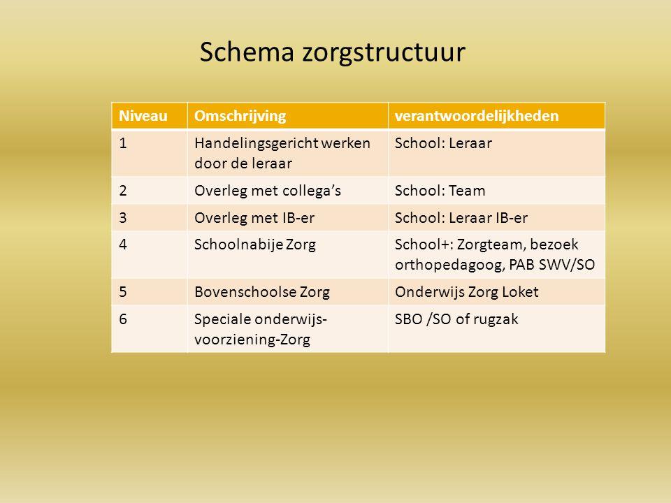 NiveauOmschrijvingverantwoordelijkheden 1Handelingsgericht werken door de leraar School: Leraar 2Overleg met collega'sSchool: Team 3Overleg met IB-erS
