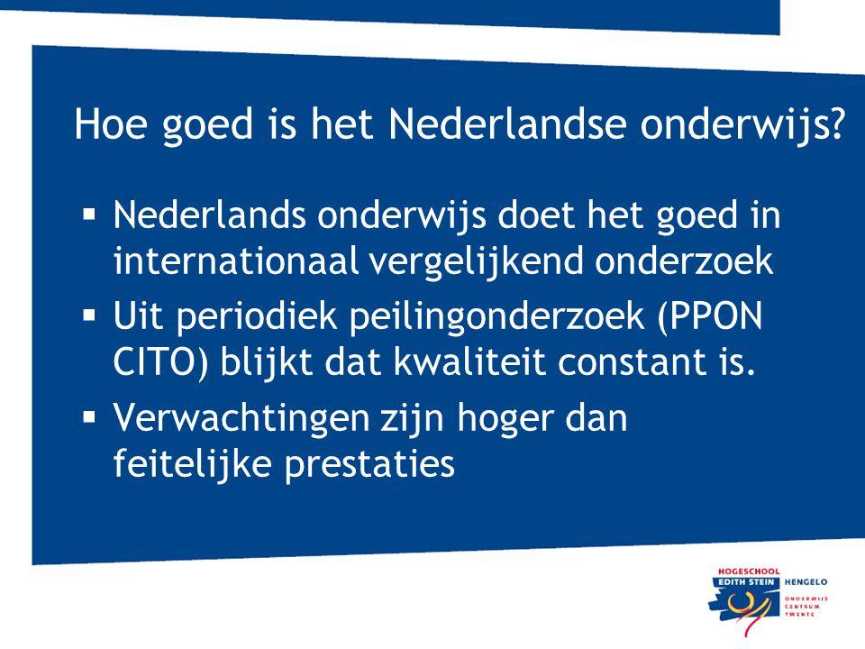 Hoe goed is het Nederlandse onderwijs?  Nederlands onderwijs doet het goed in internationaal vergelijkend onderzoek  Uit periodiek peilingonderzoek