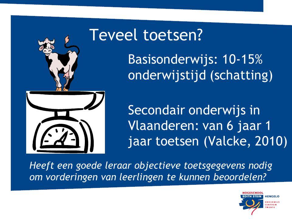 Teveel toetsen? Basisonderwijs: 10-15% onderwijstijd (schatting) Secondair onderwijs in Vlaanderen: van 6 jaar 1 jaar toetsen (Valcke, 2010) Heeft een