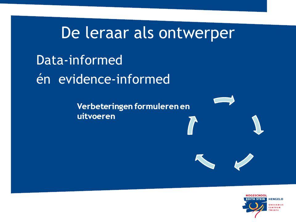 De leraar als ontwerper Data-informed én evidence-informed Verbeteringen formuleren en uitvoeren