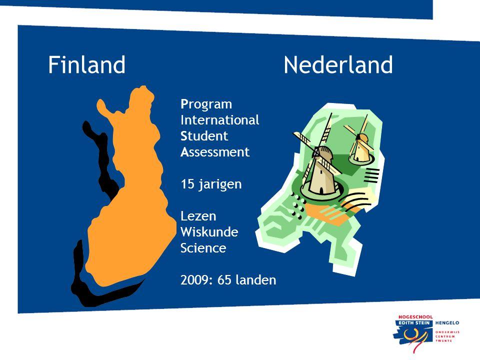 Finland Nederland Program International Student Assessment 15 jarigen Lezen Wiskunde Science 2009: 65 landen