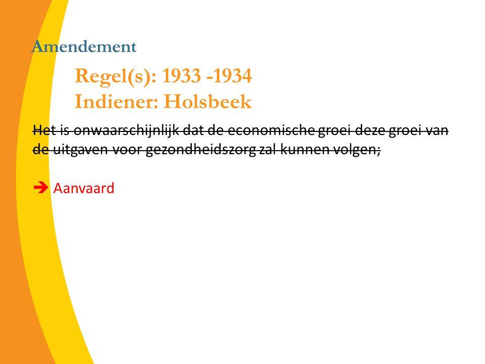 Amendement Het is onwaarschijnlijk dat de economische groei deze groei van de uitgaven voor gezondheidszorg zal kunnen volgen;  Aanvaard Regel(s): 1933 -1934 Indiener: Holsbeek