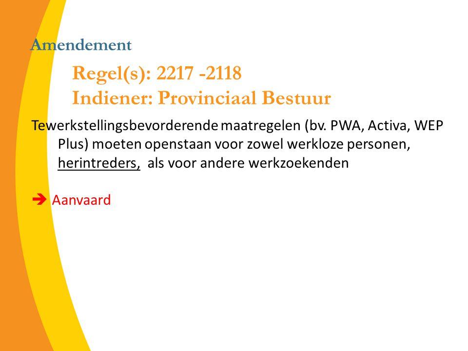 Amendement Tewerkstellingsbevorderende maatregelen (bv.