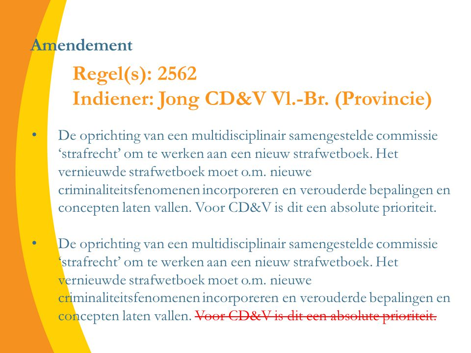 Amendement De oprichting van een multidisciplinair samengestelde commissie 'strafrecht' om te werken aan een nieuw strafwetboek.