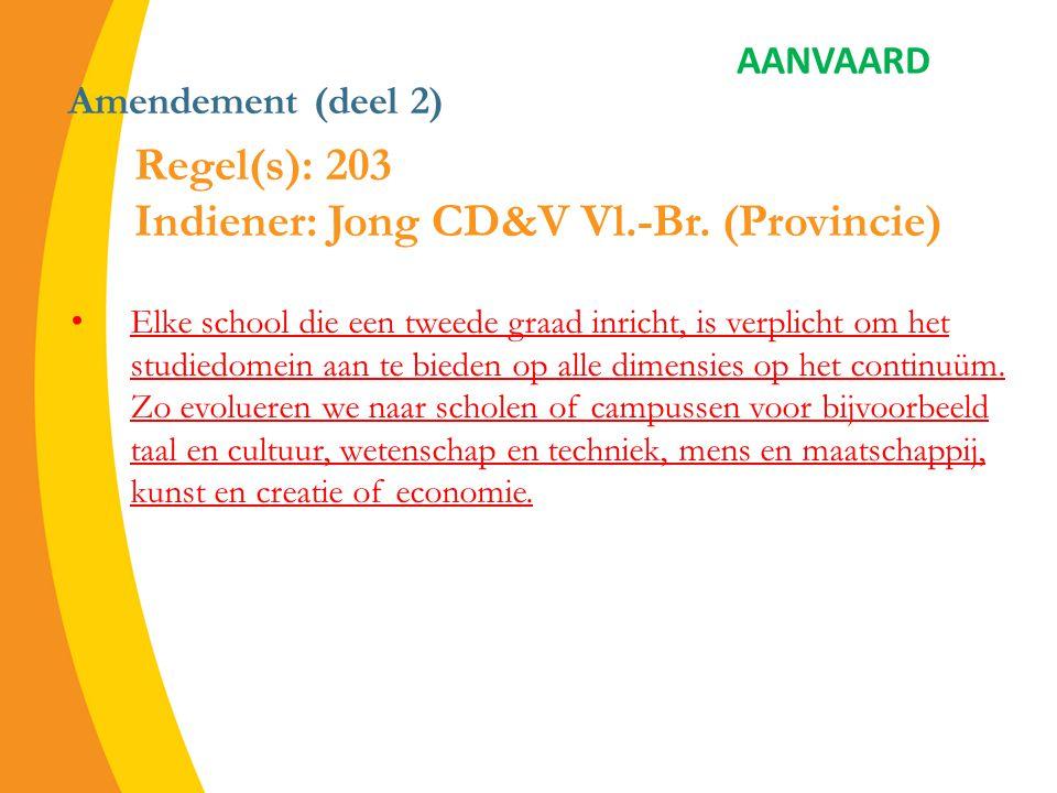 Amendement (deel 2) Elke school die een tweede graad inricht, is verplicht om het studiedomein aan te bieden op alle dimensies op het continuüm.