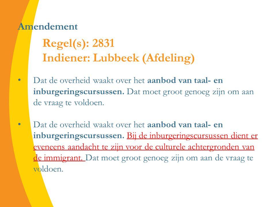 Amendement Dat de overheid waakt over het aanbod van taal- en inburgeringscursussen.