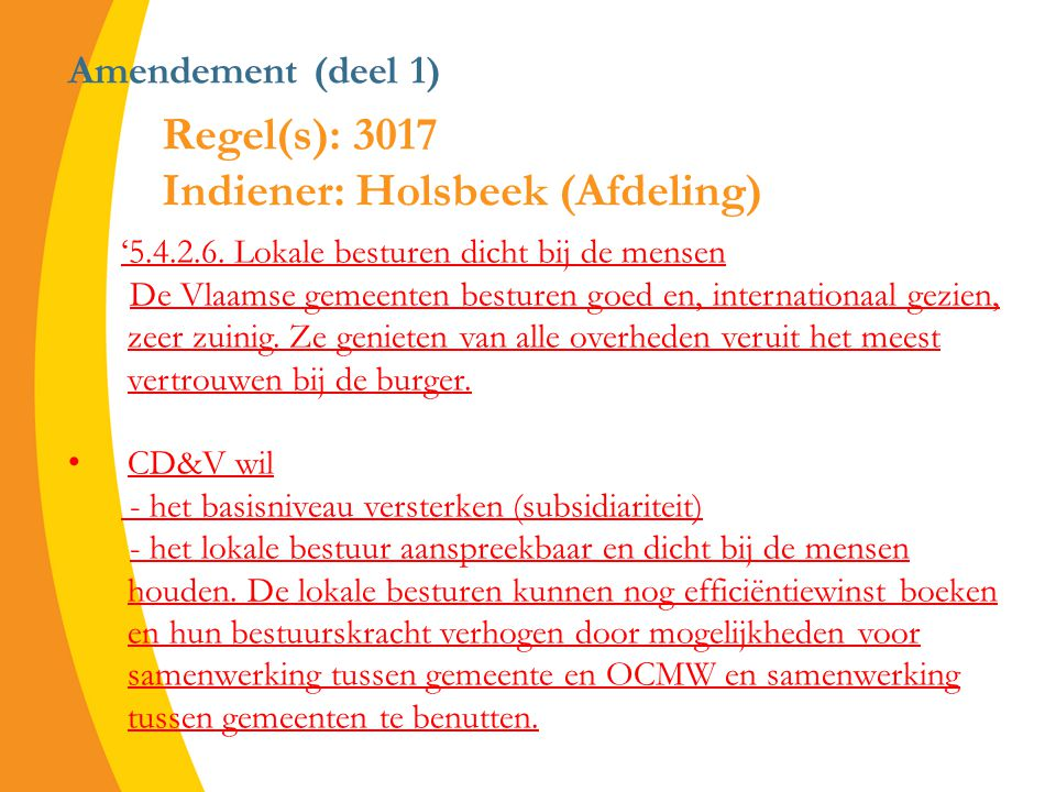 Amendement (deel 1) '5.4.2.6.