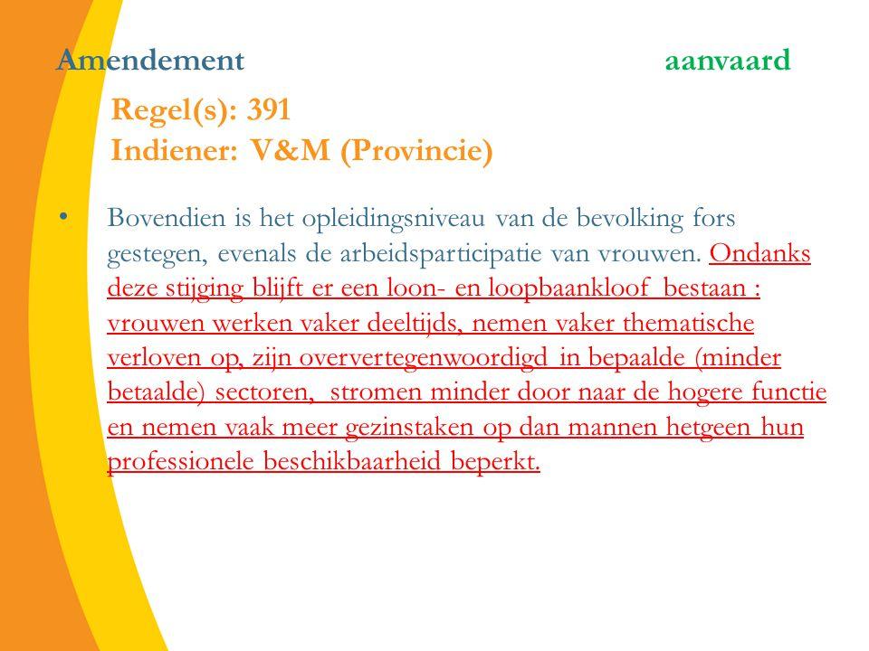 Amendement aanvaard Bovendien is het opleidingsniveau van de bevolking fors gestegen, evenals de arbeidsparticipatie van vrouwen.