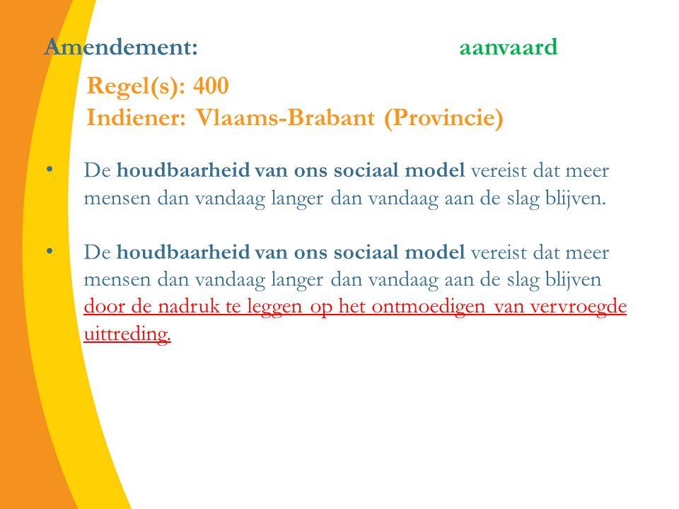 Amendement: aanvaard De houdbaarheid van ons sociaal model vereist dat meer mensen dan vandaag langer dan vandaag aan de slag blijven.
