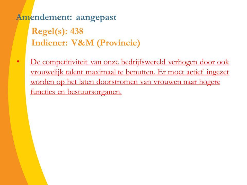 Amendement: aangepast De competitiviteit van onze bedrijfswereld verhogen door ook vrouwelijk talent maximaal te benutten.
