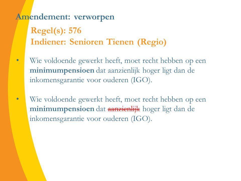 Amendement: verworpen Wie voldoende gewerkt heeft, moet recht hebben op een minimumpensioen dat aanzienlijk hoger ligt dan de inkomensgarantie voor ouderen (IGO).