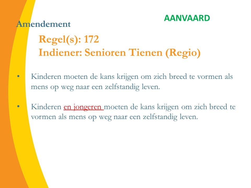 Amendement aanvaard Regel(s): 1119 toevoeging Indiener: Zaventem Bepaalde regio's in Vlaanderen, zoals de Vlaamse Rand, worden geconfronteerd met een echte vlucht van jongeren en jonge gezinnen.