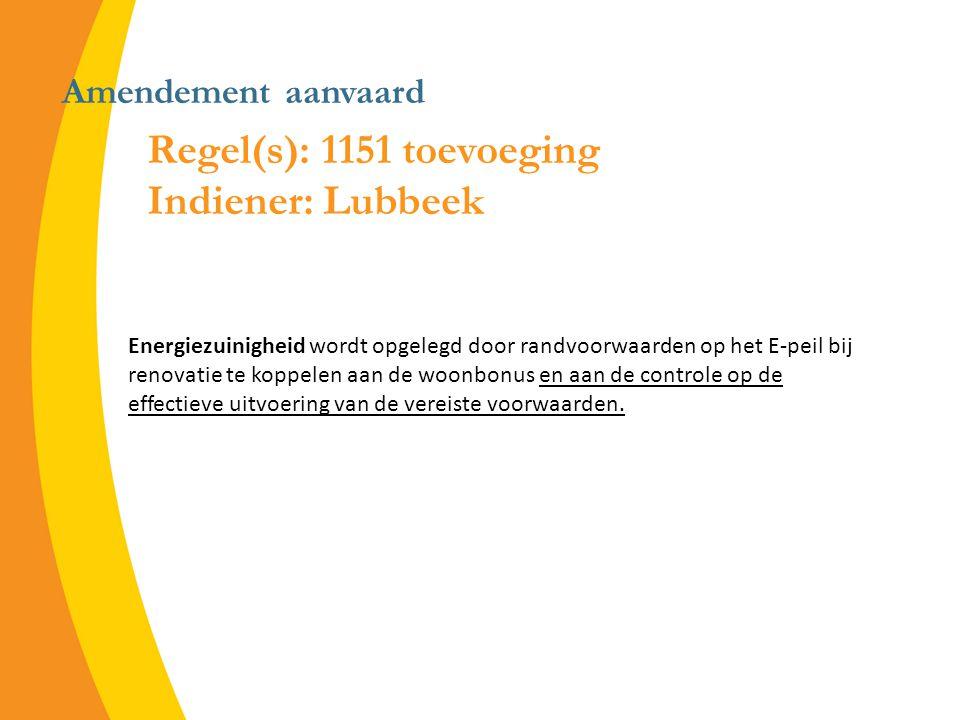Amendement aanvaard Regel(s): 1151 toevoeging Indiener: Lubbeek Energiezuinigheid wordt opgelegd door randvoorwaarden op het E-peil bij renovatie te koppelen aan de woonbonus en aan de controle op de effectieve uitvoering van de vereiste voorwaarden.