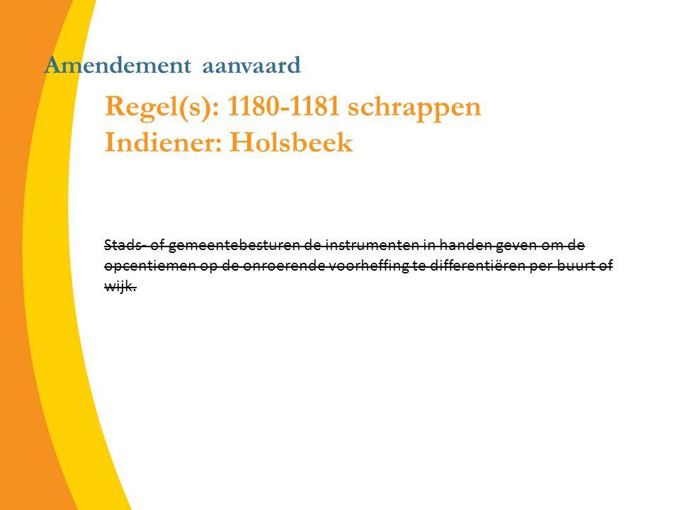 Amendement aanvaard Regel(s): 1180-1181 schrappen Indiener: Holsbeek Stads- of gemeentebesturen de instrumenten in handen geven om de opcentiemen op de onroerende voorheffing te differentiëren per buurt of wijk.