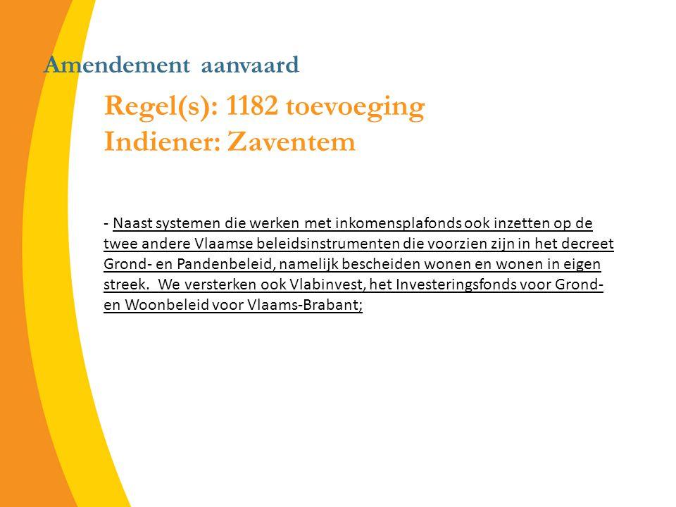 Amendement aanvaard Regel(s): 1182 toevoeging Indiener: Zaventem - Naast systemen die werken met inkomensplafonds ook inzetten op de twee andere Vlaamse beleidsinstrumenten die voorzien zijn in het decreet Grond- en Pandenbeleid, namelijk bescheiden wonen en wonen in eigen streek.