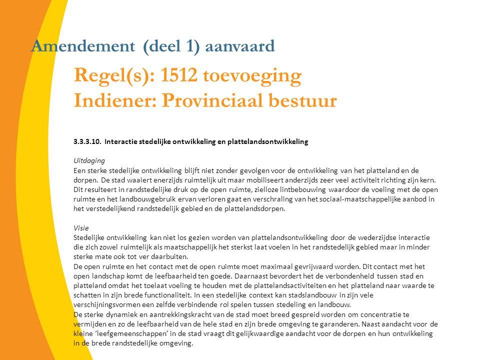 Amendement (deel 1) aanvaard Regel(s): 1512 toevoeging Indiener: Provinciaal bestuur 3.3.3.10.