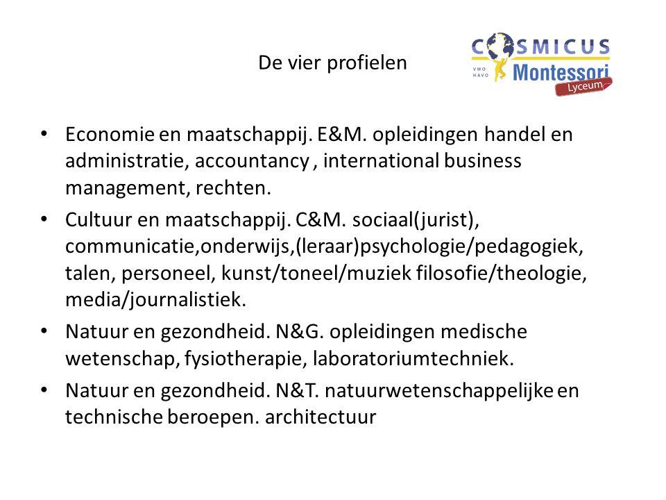 De vier profielen Economie en maatschappij. E&M. opleidingen handel en administratie, accountancy, international business management, rechten. Cultuur