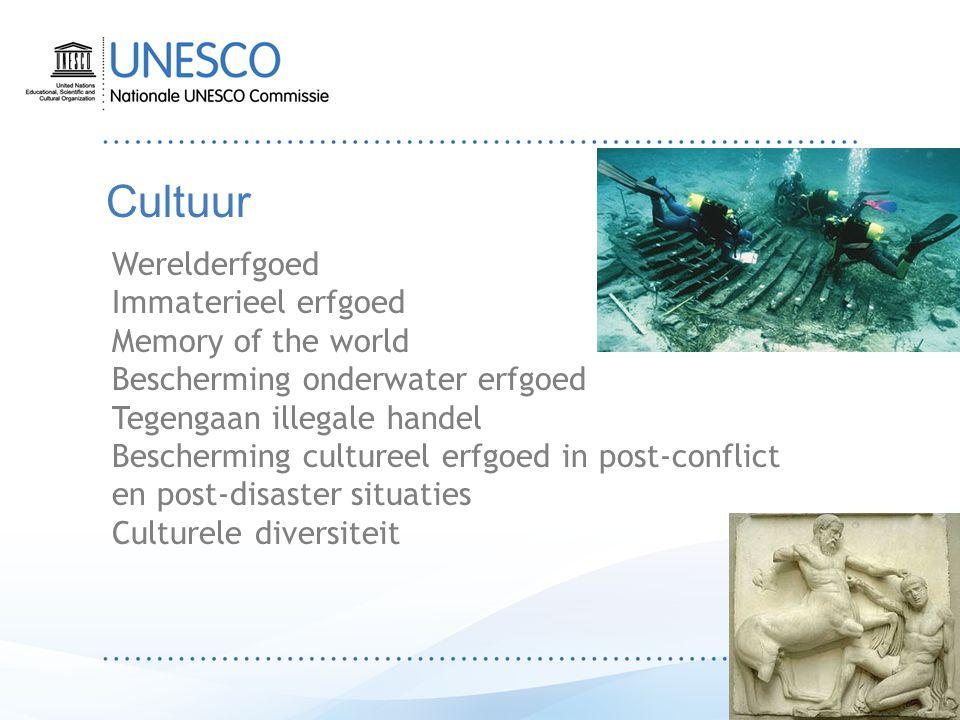 Cultuur Werelderfgoed Immaterieel erfgoed Memory of the world Bescherming onderwater erfgoed Tegengaan illegale handel Bescherming cultureel erfgoed in post-conflict en post-disaster situaties Culturele diversiteit
