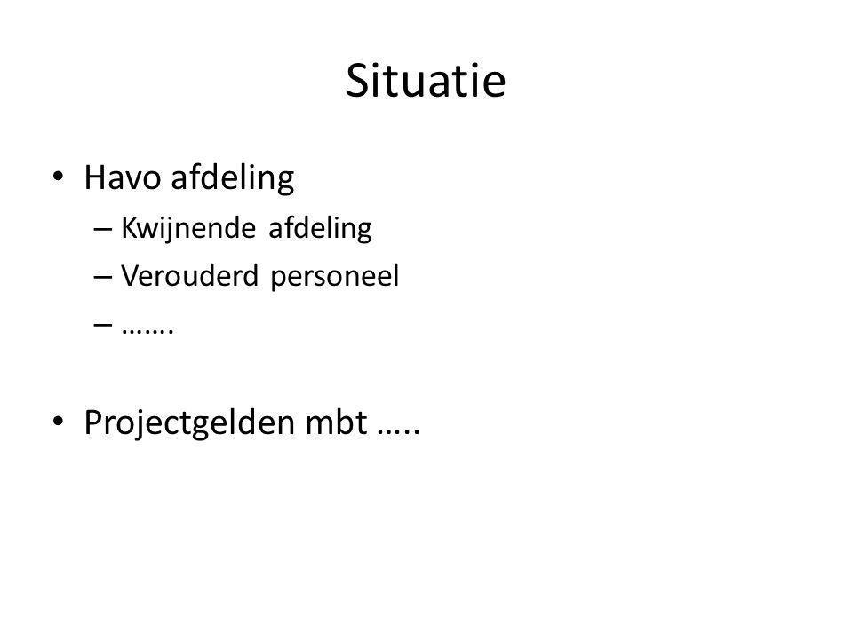 Situatie Havo afdeling – Kwijnende afdeling – Verouderd personeel – ……. Projectgelden mbt …..