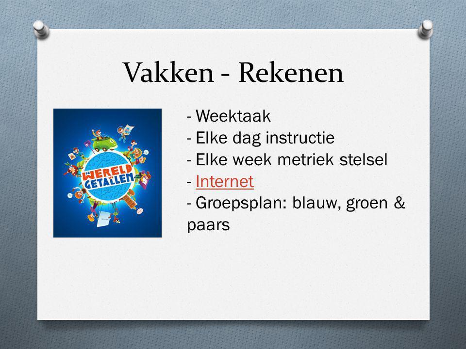 Vakken - Rekenen - Weektaak - Elke dag instructie - Elke week metriek stelsel - InternetInternet - Groepsplan: blauw, groen & paars