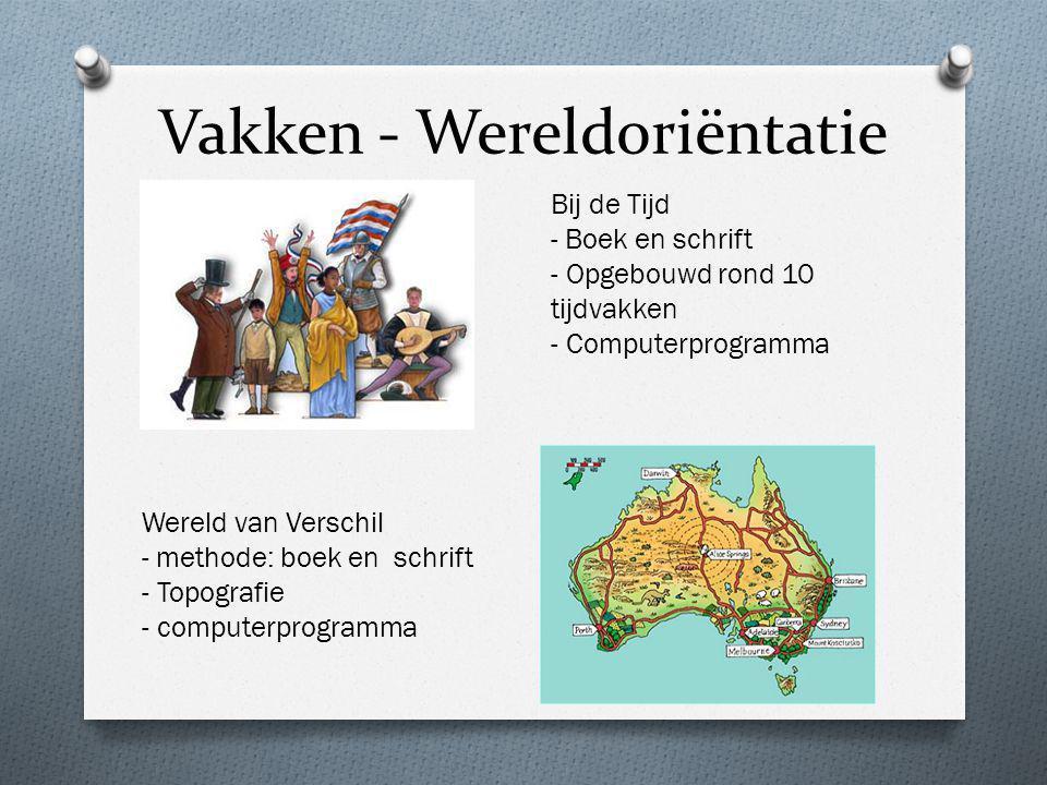 Vakken - Wereldoriëntatie Bij de Tijd - Boek en schrift - Opgebouwd rond 10 tijdvakken - Computerprogramma Wereld van Verschil - methode: boek en schr