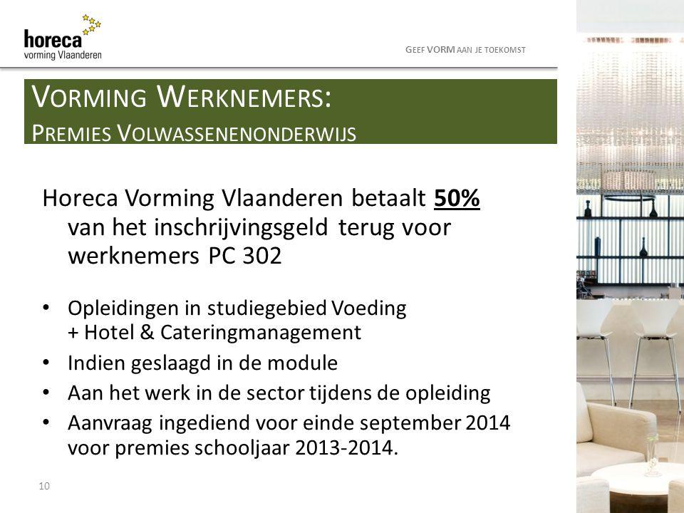 Horeca Vorming Vlaanderen betaalt 50% van het inschrijvingsgeld terug voor werknemers PC 302 Opleidingen in studiegebied Voeding + Hotel & Cateringman
