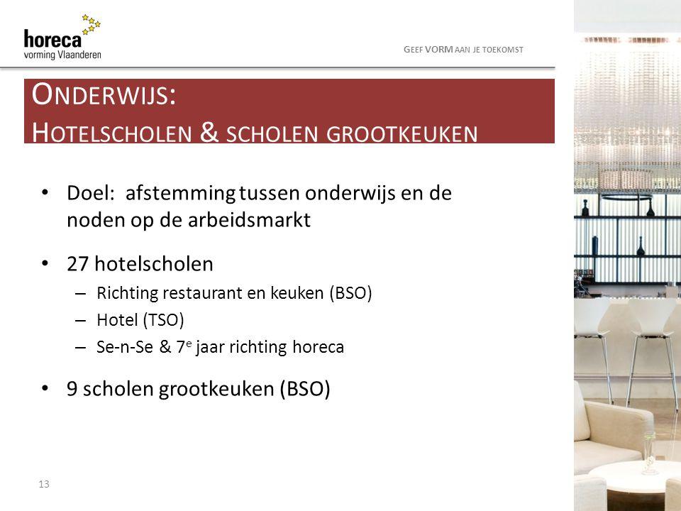 Doel: afstemming tussen onderwijs en de noden op de arbeidsmarkt 27 hotelscholen – Richting restaurant en keuken (BSO) – Hotel (TSO) – Se-n-Se & 7 e j