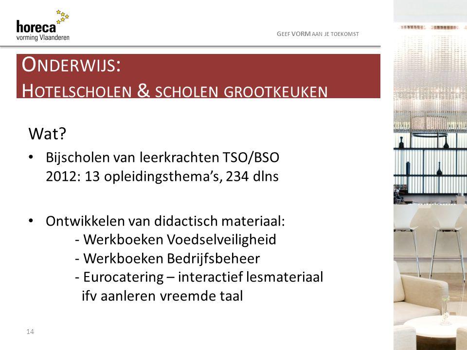 Wat? Bijscholen van leerkrachten TSO/BSO 2012: 13 opleidingsthema's, 234 dlns Ontwikkelen van didactisch materiaal: - Werkboeken Voedselveiligheid - W