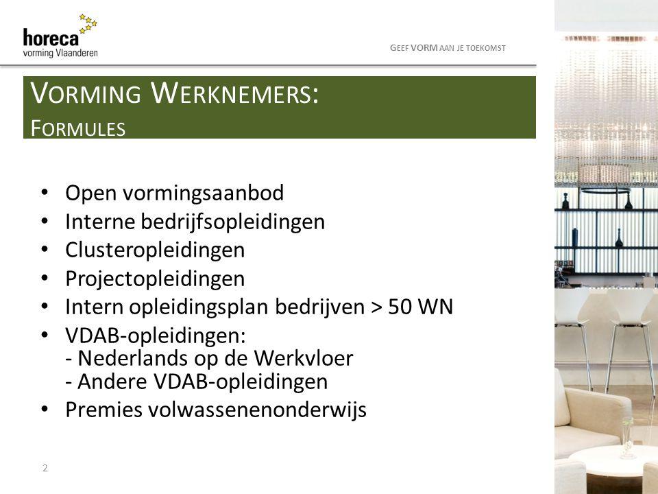 Open vormingsaanbod Interne bedrijfsopleidingen Clusteropleidingen Projectopleidingen Intern opleidingsplan bedrijven > 50 WN VDAB-opleidingen: - Nede