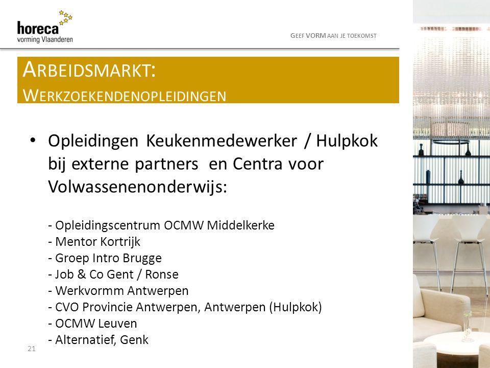 Opleidingen Keukenmedewerker / Hulpkok bij externe partners en Centra voor Volwassenenonderwijs: - Opleidingscentrum OCMW Middelkerke - Mentor Kortrij
