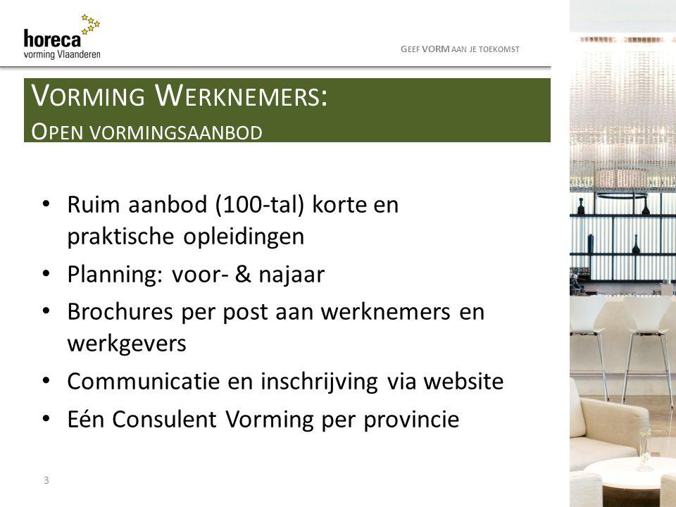 Ruim aanbod (100-tal) korte en praktische opleidingen Planning: voor- & najaar Brochures per post aan werknemers en werkgevers Communicatie en inschri