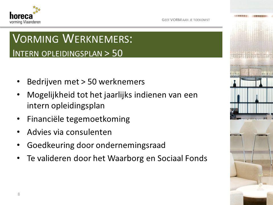 Financiering: Horeca Vorming (mits aanvraag/goedkeuring door RVB) Nederlands op de werkvloer: - voor anderstalige(n) - op maat van werknemer(s) en bedrijf - 100 % financiering van de opleidingskost Korte HELP-module - voor collega's van anderstaligen - 100 % financiering van de opleidingskost Andere VDAB-opleidingen: 50 % financiering 9 G EEF VORM AAN JE TOEKOMST V ORMING W ERKNEMERS : VDAB- OPLEIDINGEN