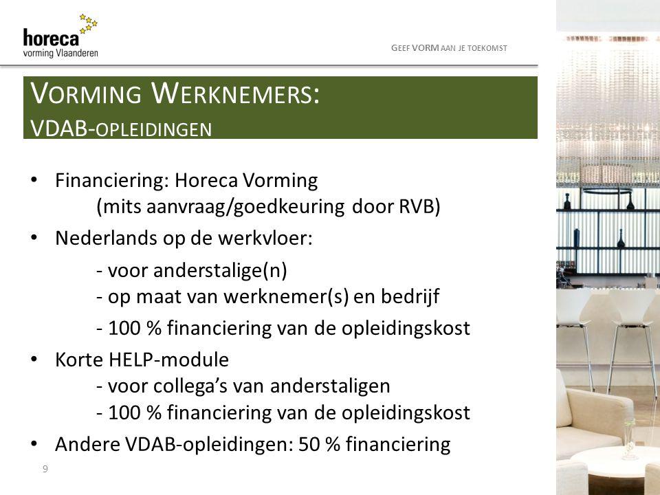 Horeca Vorming Vlaanderen betaalt 50% van het inschrijvingsgeld terug voor werknemers PC 302 Opleidingen in studiegebied Voeding + Hotel & Cateringmanagement Indien geslaagd in de module Aan het werk in de sector tijdens de opleiding Aanvraag ingediend voor einde september 2014 voor premies schooljaar 2013-2014.