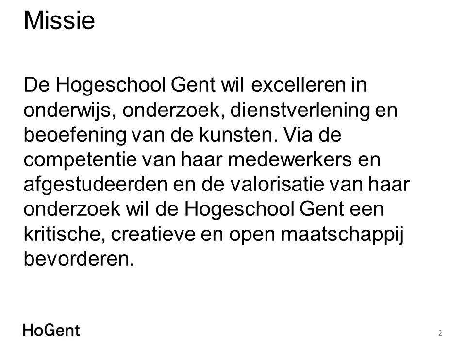 Missie De Hogeschool Gent wil excelleren in onderwijs, onderzoek, dienstverlening en beoefening van de kunsten.